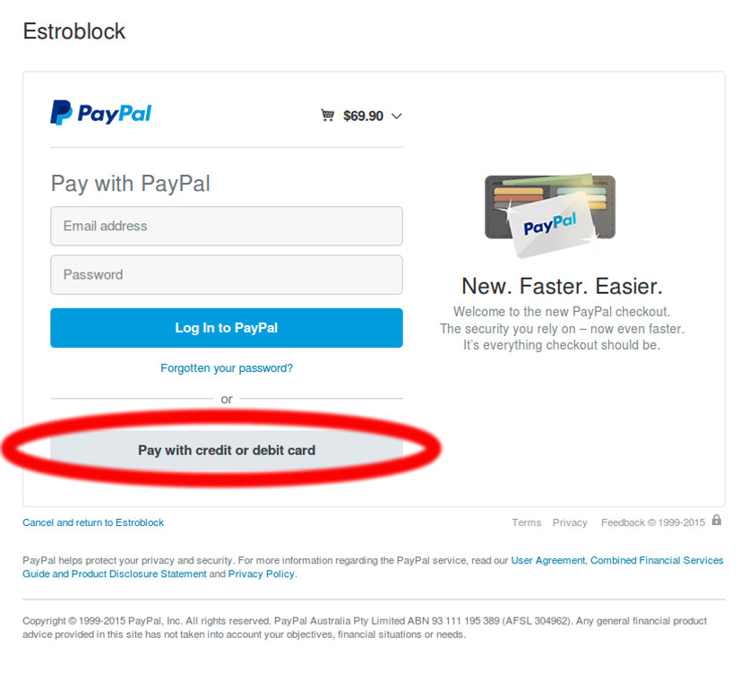 Pay with CreditCard via PayPal (No PayPal Account required)